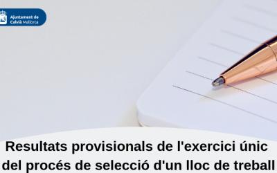Resultats provisionals de l'exercici únic del procés de selecció d'un lloc de treball de Tècnic/a d'Orientació i Inserció Laboral (A1) (A2)