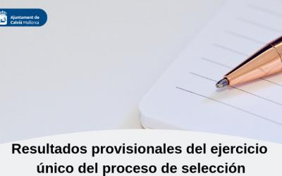 Resultados provisionales del ejercicio único del proceso de selección de un puesto de trabajo de Técnico/a de Orientación e Inserción Laboral (A1) (A2)