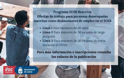 EL AJUNTAMENT DE CALVIÀ CONTRATARÁ A 106 PERSONAS EN EL MARCO DEL PROGRAMA REACTIVA 2020 DEL SOIB