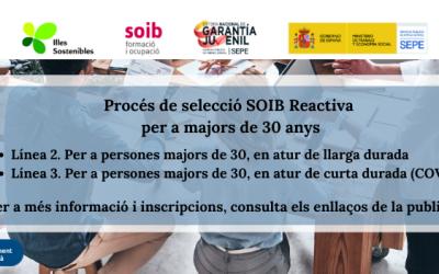 COMENÇA EL PROCÉS D'INSCRIPCIÓ AL SEGON TORN DEL PROGRAMA SOIB REACTIVA 2020