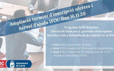 S'ÀMPLIA EL TERMINI D'INSCRIPCIÓ A LES OFERTES DEL PROGRAMA REACTIVA FINS DILLUNS 16 DE NOVEMBRE