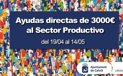 ABIERTO EL PLAZO PARA SOLICITAR LAS AYUDAS DIRECTAS DE 3.000 EUROS PARA EL SECTOR PRODUCTIVO DE CALVIÀ